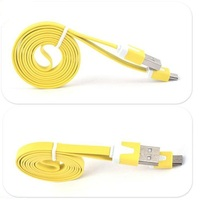 Micro Colorful Noodle Micro led cable high quality micro flat usb data cable for Samsung custom usb car charger