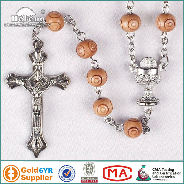Religious chalice 8mm carved wood rosary bead