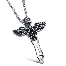 Wholesale jewelry Elegant Angel Sword with matching chain necklace titanium trend