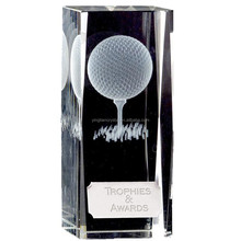 3D LASER GOLF BALL CRYSTAL BLOCK GLASS TROPHY PERSONALISED AWARD