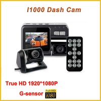 Full HD Car Dvr Dual Camera 2 Dual Lens Dash Cam I1000 For Vehicle Video Recorder Car Black Box Dvr With Two Cameras