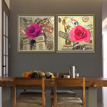 Canvas HD Prints Paintings Wall Art Living Room Home Decor 3 Pieces Roses Flowers Pictures Retro Poster Framework