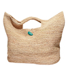 Large Straw Raffia Bag With Stone