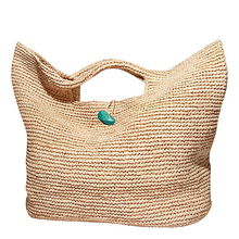 Large Straw Raffia Bag with stone closure