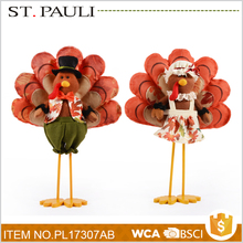 thanksgiving promotion items table top standing turkey toy festival decoration for wholesale