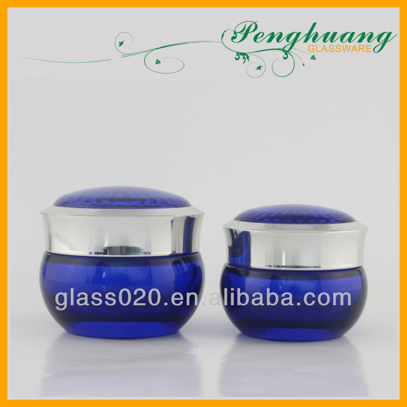 blue facial whiten cream glass jar 30g 50g luxury cosmetic packaging