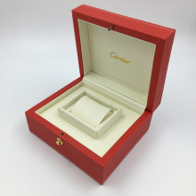 Wholesale Luxury red rectangular PU leather MDF wooden single watch box