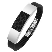 High End Men's Stainless Steel Two Tone IP Black Cuff Bracelet Wholesale