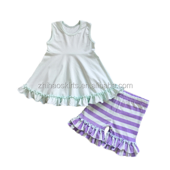 fashion kids clothing baby girl purple stripe shorts sleeveless blank white top wholesale kids clothes clothing company