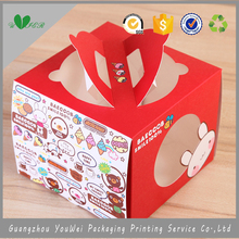 guangzhou factory customized 350 gsm art paper logo printing red color PVC clear window wedding candy box