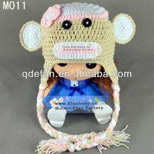 Cute hand made baby beanies crochet animal cap knit monkey patterns