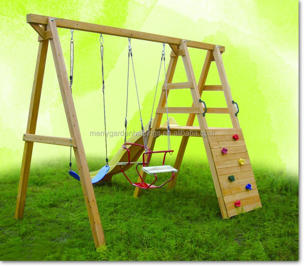 Kids Outdoor playground wooden garden swing in playground for outdoor playset