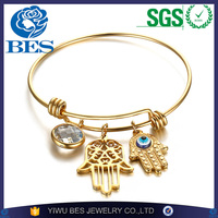 2016 New Hamsa Palm Design Bangle Bracelet With Charms 18k Gold Plated Bangle Adjustable