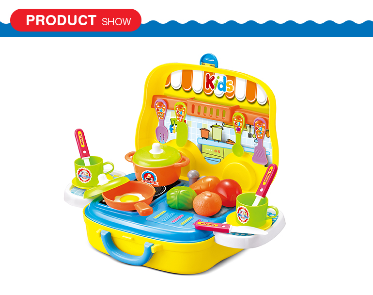 Educational cookware pretend play kitchenware toys kids kitchen set in suitcase