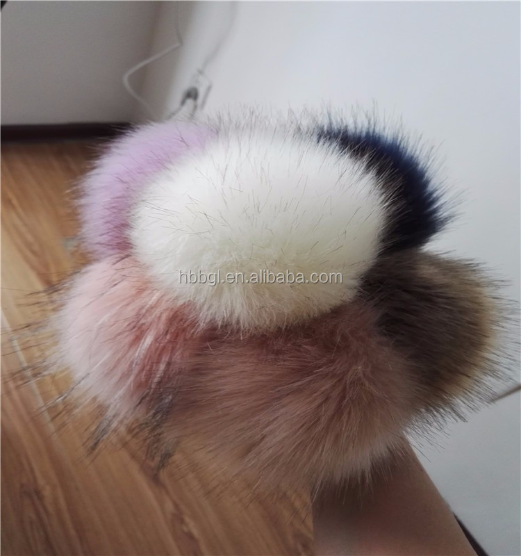 Wholesale acrylic wool fabrics fake fox fur long fur pom pom key chain/girl bag key chain