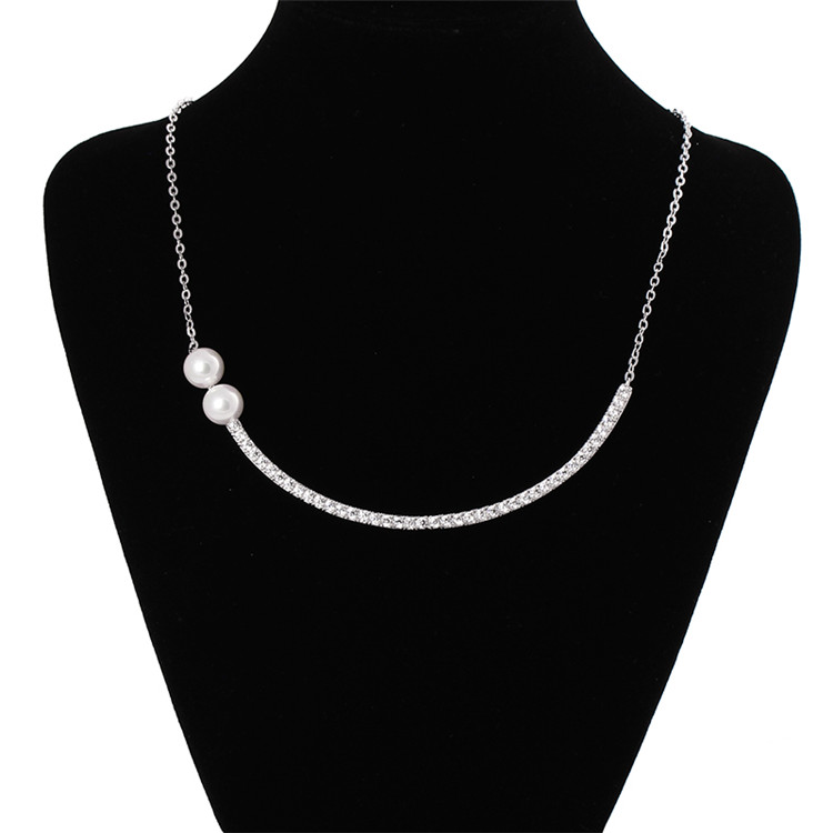 Fancy Lady's White Gold GP CZ Crystal Bar Necklace Cubic Zirconia and Pearl Curved Stick Pendant Necklaces