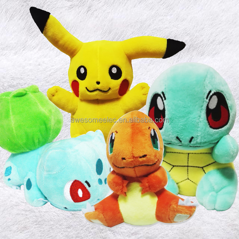 2016 Game 4pcs 6pcs pikachu, bolbasur, charmander, squartle plush toys, pokemon pikachu plush dolls for kids