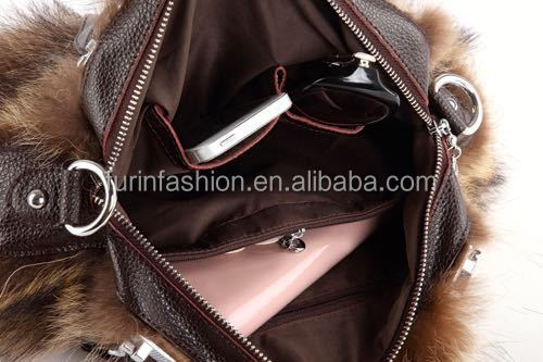 2017/2018 New Product Genuine Cow Leather Bag with Raccoon Fur for Fashionable Ladies with Competitve Price Fur Bag
