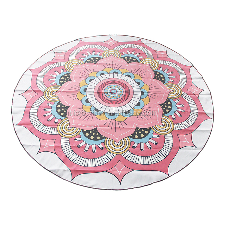 New design sublimation print Microfiber absorbent custom round beach towel