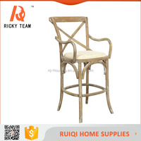 RQ- 21352 Rattan seat X back wooden bar stool