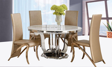 8 seater round glass / marble dining table with lazy susan DH-828