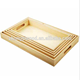 Natural looking food grade custom melamine blank 4 wood serving tray with handle