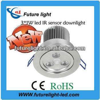 High lumen IP54 3w led downlight with sensor housing
