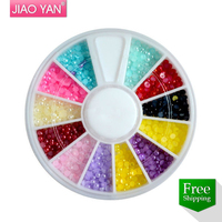 ABS half round/ flat back pearl 2 mm Nail decoration in Wheel Free DHL/ FedEx Shipping #1612