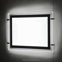 Movie Posters Display Ultra slim Wire Hang LED Light Pockets Acrylic Crystal Light Pockets, photo frame hanging Light Pockets