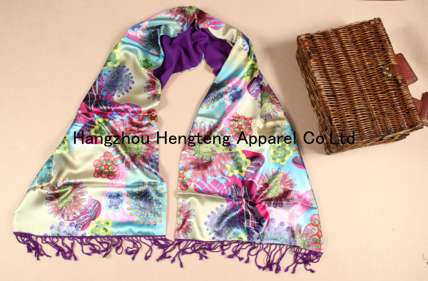 Reversible/Double Sided 100% Silk Shawl OEM available