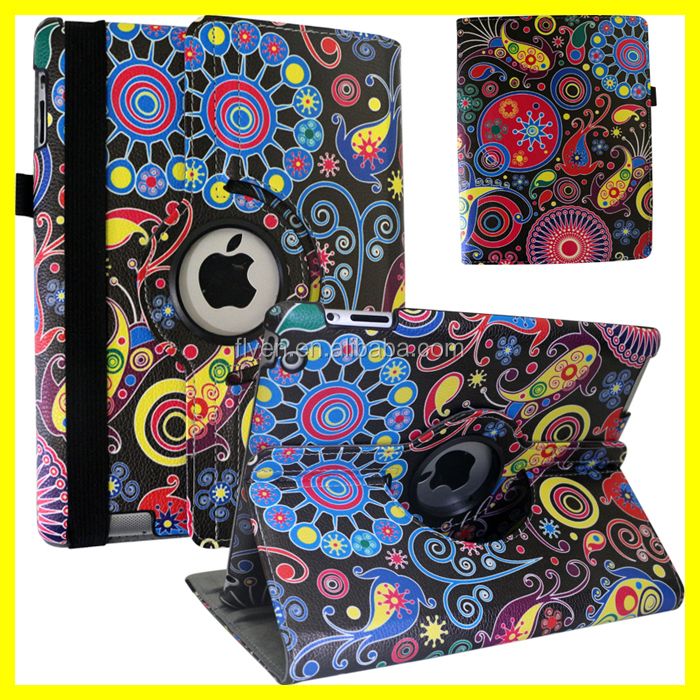 360 Printing Case for ipad air for iPad 2 for iPad mini Rotating Leather Cases with Custom Cartoon Printing DIY Design Wholesale