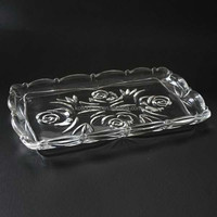 "10"" square glass rose design serving plate clear transparent cheap tableware glassware, popular in Middle East glass plate"