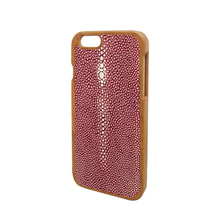 Alibaba phone back cover with pearl fish skin,wooden leather case for iPhone 6