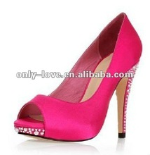 BS309 fuchsia peep toe jeweled heel party shoes evening shoes
