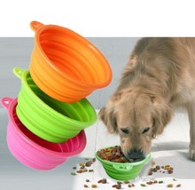 Custom 100% Silicone Travel Collapsible Bowls Foldable Dog Bowls