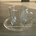 140ml double layer glass tea cup with saucer