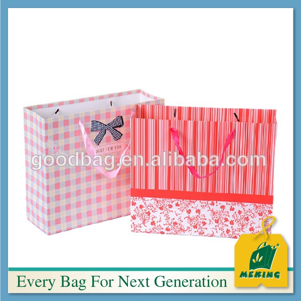 Luxury printing paper bags with ribbon handle, paper shopping packing bags for shoes