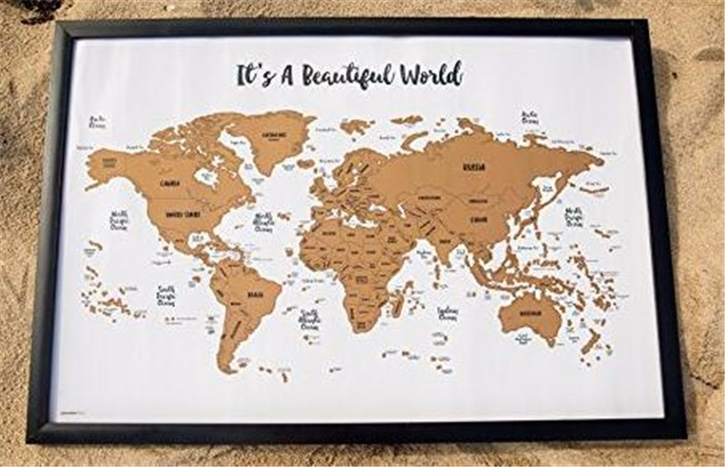 "Travel Maps ""It's a Beautiful World"" Scratch Your Travels track map"