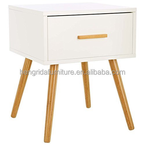 scandinavian MDF small sideboard cabinet with Solid Oak Wood Legs one drawer