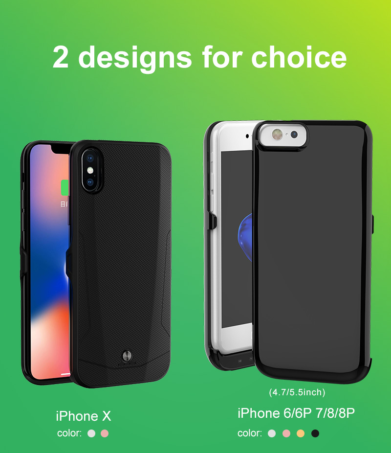 New 2018 black technology dual sim dual standby 1800 mAh power bank battery case for iphone X