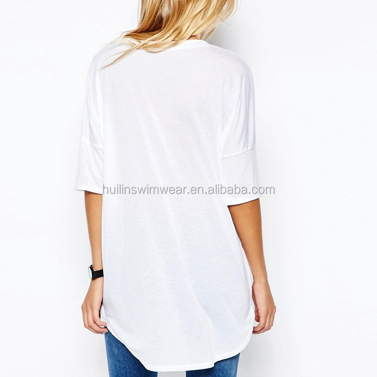 Girls v neck white t shirts wholesale women longline Cheap plain white shirts