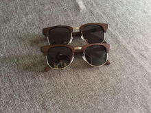 double metal bridge wood imitate glasses frames with stock for men and women