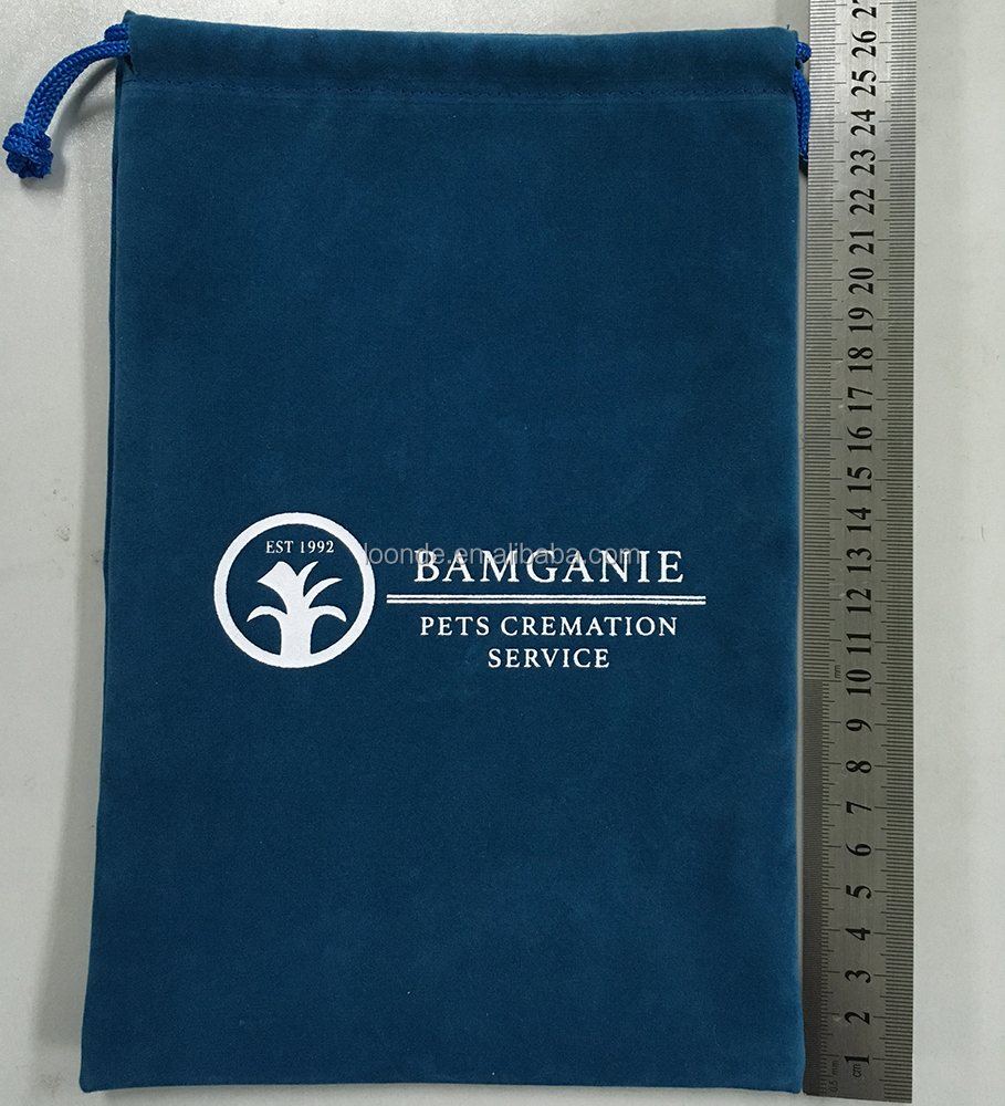 High Quality Logo printed Velvet Urn Bag with Drawstring Closure