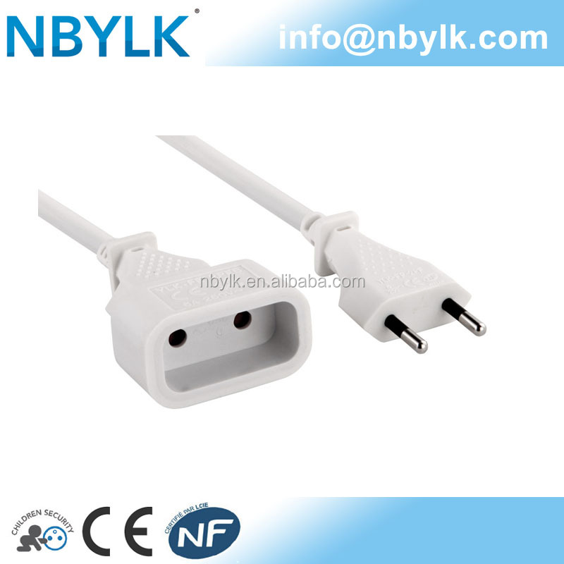 power cord 6A with male plug and female socket NF CE approval- French type