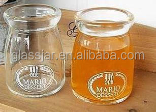 Fancy glass pudding jar with custom logo printing