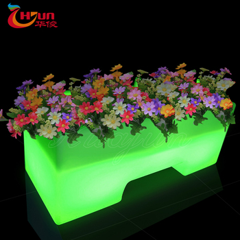 cheap outdoor plastic glowing led light flower pot with battery operated