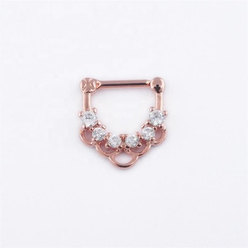 Dazzling rose gold color hinged septum clicker 16g nose piercing rings