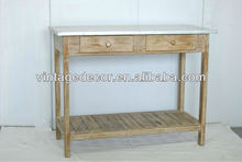 WOOD CONSOLE WITH ZINC TOP