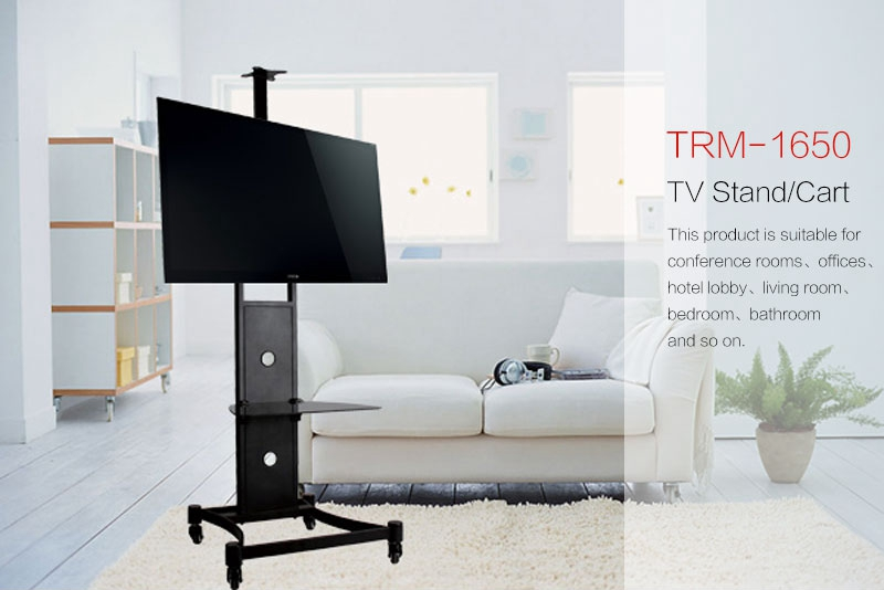 Mobile TV screen display stand, TV shelf trolley with 4 wheels