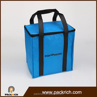 Durable zippers with stylish blue disposable ice cooler bag